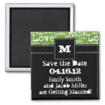 Love Text Save the Date Magnet in Lime zazzle_magnet