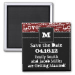 Love Text Save the Date Magnet in Merlot zazzle_magnet