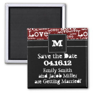 Love Text Save the Date Magnet in Merlot