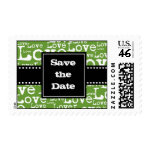 Love Text Save the Date Postage in Lime zazzle_stamp