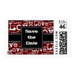 Love Text Save the Date Postage in Merlot zazzle_stamp