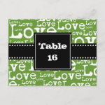 Love Text Table Number Cards in Lime zazzle_postcard
