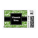 Love Text Thank You Postage in Lime zazzle_stamp