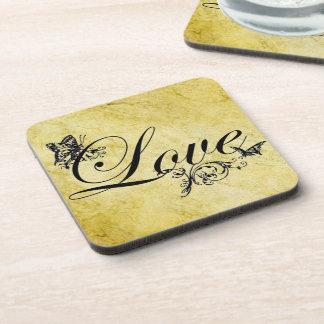 Love Text with Butterflies Custom Cork Coaster