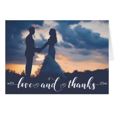 Wedding Themed Love & Thank You | Chic Hand Doodle Hearts Photo Card