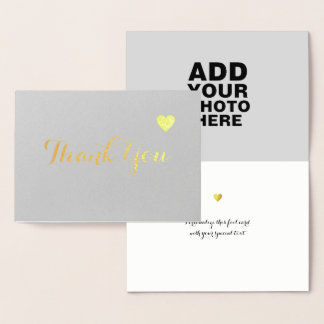 love & thank you gold foil card with photo