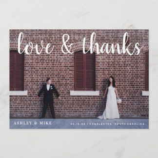 Love & Thanks 2 Photo Wedding Thank You Card