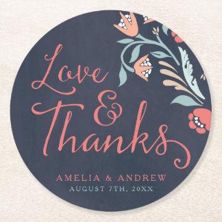 Love & Thanks Bluish Chalkboard Floral Wedding Round Paper Coaster