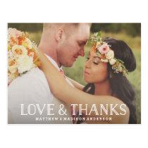 Love & Thanks Boho   Wedding Thank You Postcard