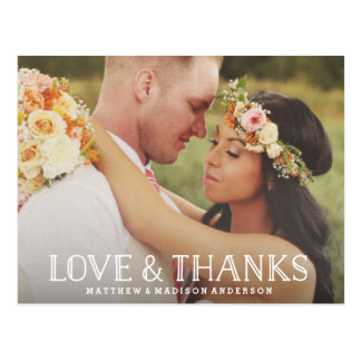 Love & Thanks Boho | Wedding Thank You Postcard