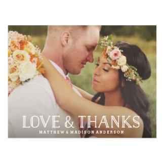 Love & Thanks Boho | Wedding Thank You Postcard
