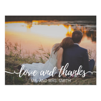 Love & Thanks Classic Script | Thank You Postcard