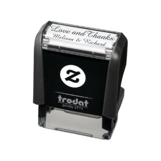 love & thanks (custom text) with couple names self-inking stamp