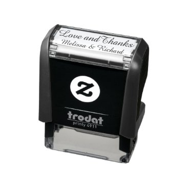 mixedworld love & thanks (custom text) with couple names self-inking stamp