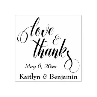 Love & Thanks Elaborate Script w/ Your Details Rubber Stamp