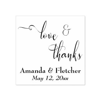Love & Thanks Elegant Script Typography w/ Details Rubber Stamp