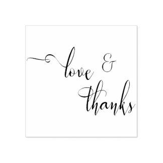 Love & Thanks Elegant, Slim Script Typography Rubber Stamp