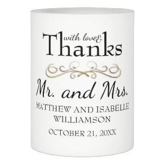 Love & Thanks Gold Flourish Wedding Favor Flameless Candle