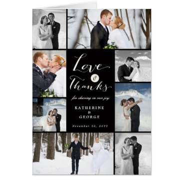 Wedding Themed Love & Thanks Photo Collage Wedding Thank You Card