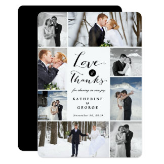 Love & Thanks Photo Collage Wedding Thank You Card