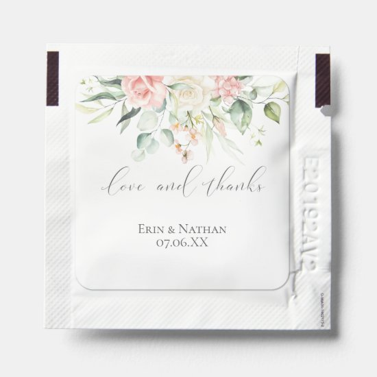 Love & Thanks Pink Roses Wedding Favor Hand Sanitizer Packet