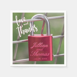 Love Thanks Red Overlay Padlock Chain Link Fence Napkin