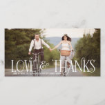 "Love &amp; Thanks Retro Script Wedding Thank You Card<br><div class=""desc"">Customizable thank you card featuring retro typography.</div>"