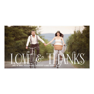 Love & Thanks Retro Script Wedding Thank You Card Photo Card