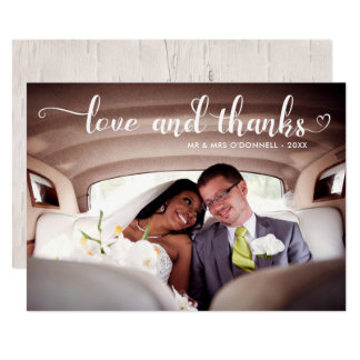 Love & Thanks Romantic Wedding Photo Card