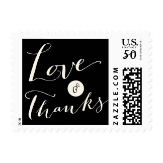 Love & Thanks Script Calligraphy Wedding Stamps