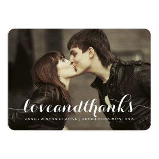 "LOVE & THANKS SCRIPT   WEDDING THANK YOU PHOTO 5"" X 7"" INVITATION CARD"
