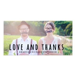 LOVE & THANKS SCRIPT | WEDDING THANK YOU PHOTO CUSTOM PHOTO CARD