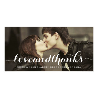 LOVE THANKS SCRIPT WEDDING THANK YOU PHOTO PERSONALIZED PHOTO CARD