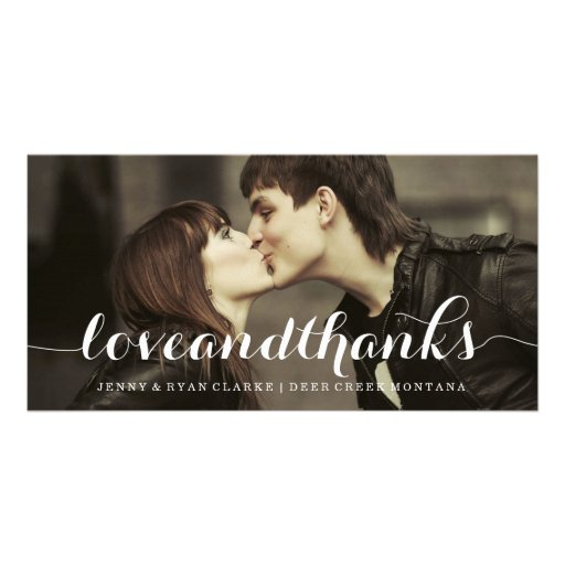 LOVE & THANKS SCRIPT | WEDDING THANK YOU PHOTO PERSONALIZED PHOTO CARD