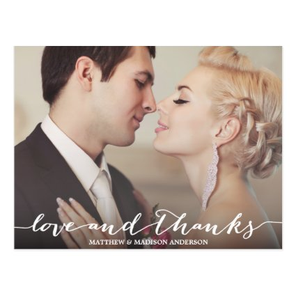 LOVE & THANKS SCRIPT | WEDDING THANK YOU POST CARD