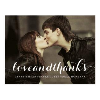LOVE & THANKS SCRIPT   WEDDING THANK YOU POST CARD