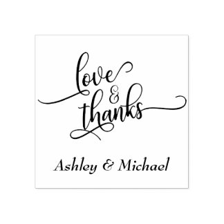 Love & Thanks Typography w/ Your Details Rubber Stamp