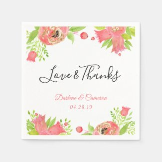 Love & Thanks Watercolor Coral Pink Floral Wedding Paper Napkin