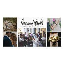 Love & Thanks | Wedding Five Photo Holiday Card