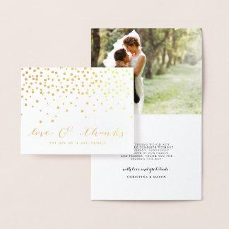 Love & Thanks | Wedding Photo Gold Foil Thank You Foil Card