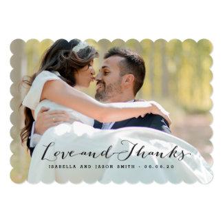 "LOVE & THANKS | WEDDING PHOTO THANK YOU CARD 5"" X 7"" INVITATION CARD"