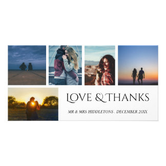 Love & Thanks Wedding Script Five Photo Collage Card