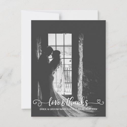 Love  Thanks Wedding Typography Black White Photo Thank You Card