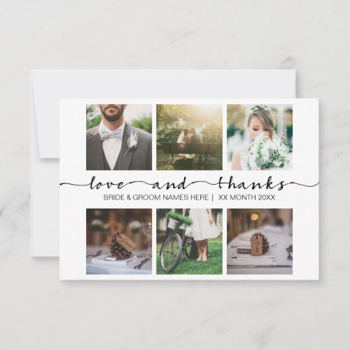 Love  Thanks Wedding Typography Minimalist Photo Thank You Card