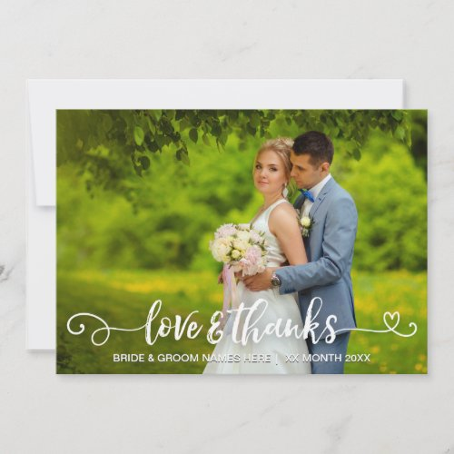 Love  Thanks Wedding Typography Pink Roses Photo Thank You Card