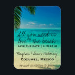 """Love &amp; The Beach Wedding Save Date Magnets<br><div class=""""desc"""">Wedding save the date postcards for your destination wedding. Customize the text with your names, wedding date and location. To change font size or style, choose the customization button. This card can also be used for any tropical or Caribbean beach wedding. Visit our store to see our full collection of...</div>"""