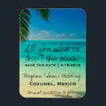 "Love &amp; The Beach Wedding Save Date Magnets<br><div class=""desc"">Wedding save the date postcards for your destination wedding. Customize the text with your names, wedding date and location. To change font size or style, choose the customization button. This card can also be used for any tropical or Caribbean beach wedding. Visit our store to see our full collection of...</div>"