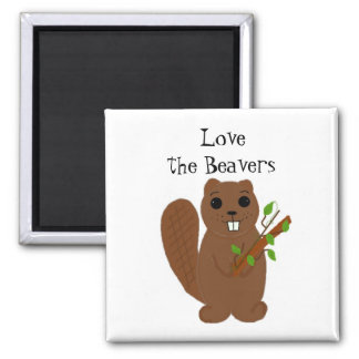 Love the Beavers 2 Inch Square Magnet