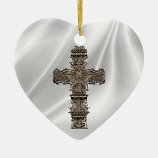 Love The Cross White Satin Heart Ornament