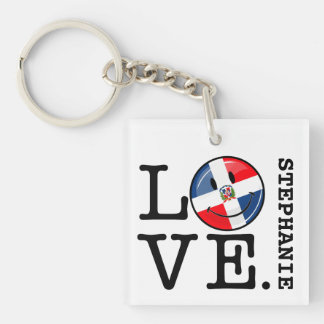 Love the Dominican Republic Smiling Flag Keychain